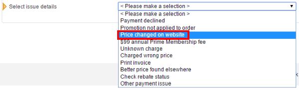 Конкретизация темы запроса в поддержку Amazon.com