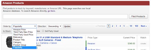 Сортировка списка товаров на CamelCamelCamel.com