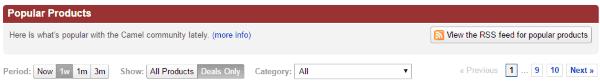 Возможности по сортировке списка популярных товаров на CamelCamelCamel.com