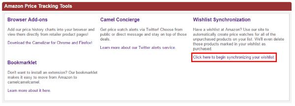 Начало переноса списка желаний с Amazon на CamelCamelCamel.com