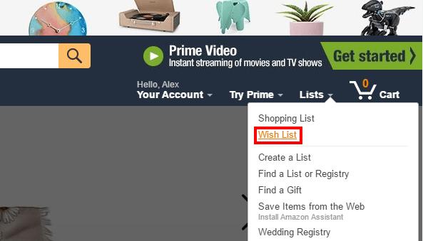 Местоположение списка желаний на Amazon
