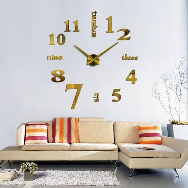 Комнатные часы в виде большой наклейки на стену