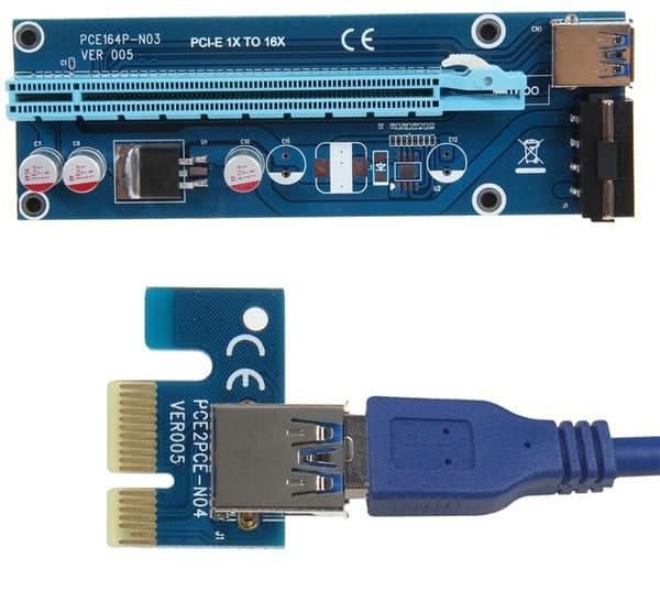 Удлинитель-переходник PCI-E x1 на x16