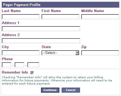 Форма для заполнения Billing Address