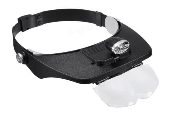 Очки с линзами и фонариком для работы с микроэлектроникой
