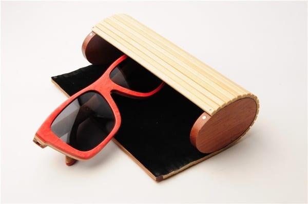 Цилиндрический футляр для очков из бамбука