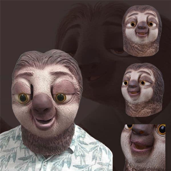 Забавная маска мультяшного ленивца