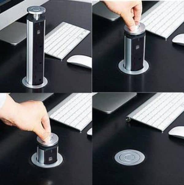 Выдвижной розеточный блок для монтирования в стол