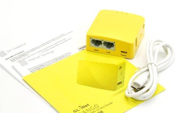 Миниатюрный роутер в жёлтом корпусе